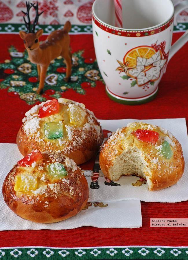Receta de Roscón de Reyes en forma de bollos individuales. Receta de Navidad. Cómo hacer bollos de Roscón de Reyes. Fotos paso a paso y consejos...