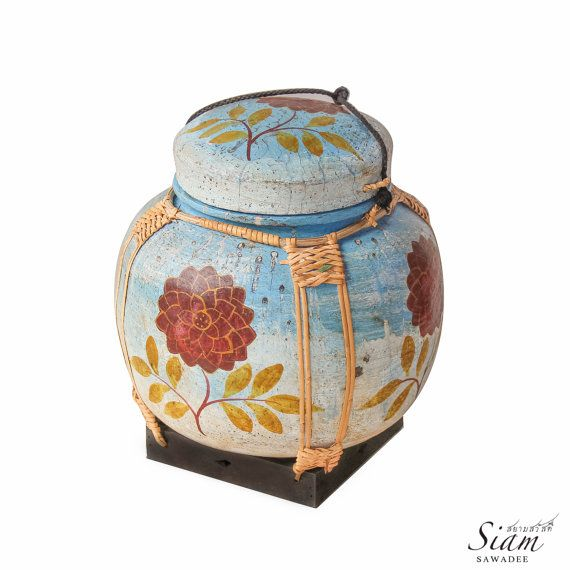 "Hand-Painted Asian Bamboo Rice Basket. Traditional Handmade Container from Thailand. 11"" Inches Hight"