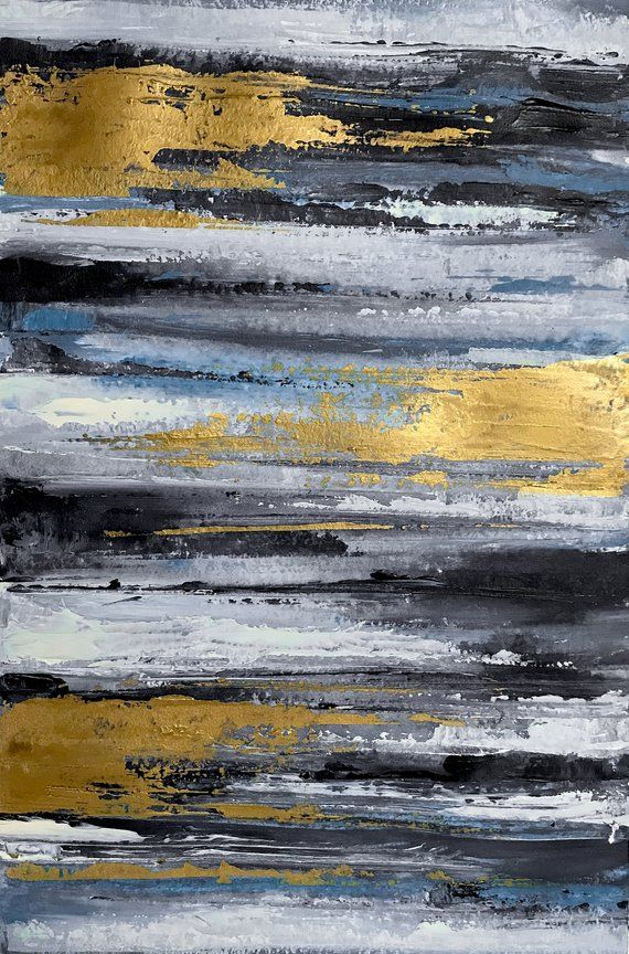 Monochrome Black White Grey Gold Abstract Art Modern Art Etsy Abstract Canvas Art Modern Abstract Painting Art