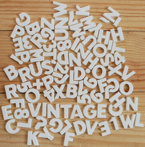 Vintage plastic magnetic letters small white letters and for White magnetic letters and numbers