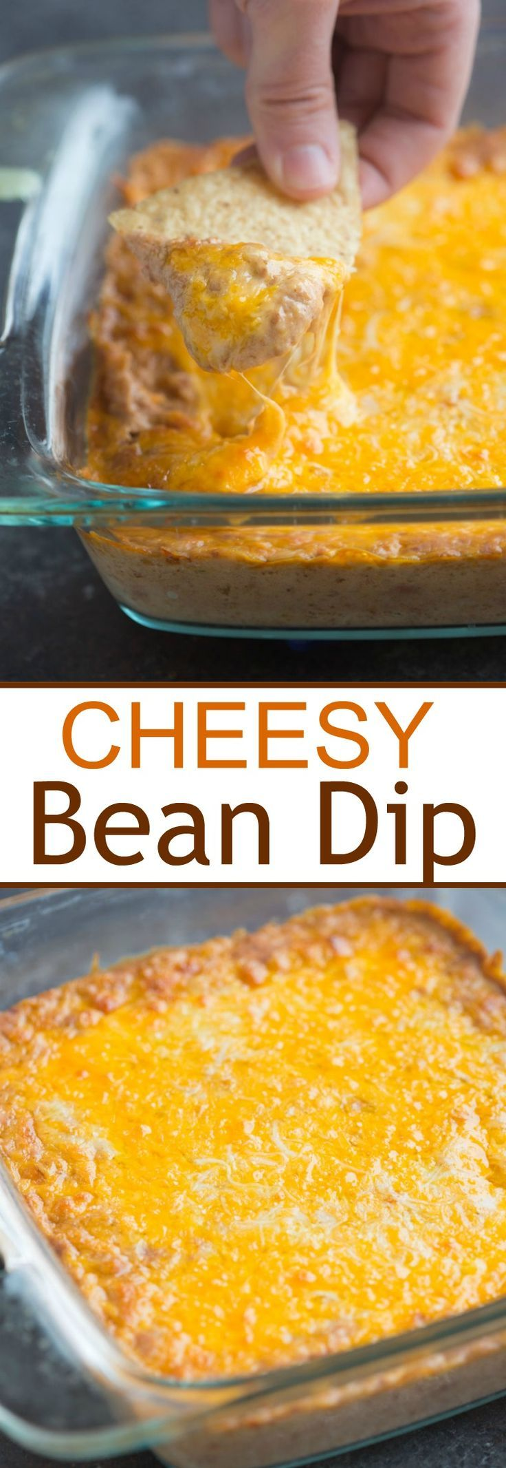 This warm, cheesy bean dip has just 6 ingredients and is the yummiest easy appetizer! Serve as a dip with tortilla chips or even inside tacos, or as a Mexican side dish. | Tastes Better From Scratch