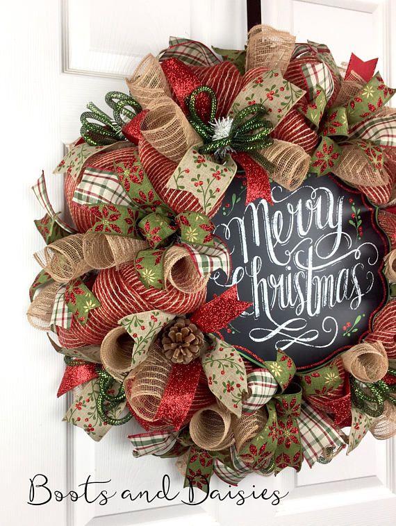 Christmas Mesh Wreath / Winter Mesh Wreath / Merry Christmas