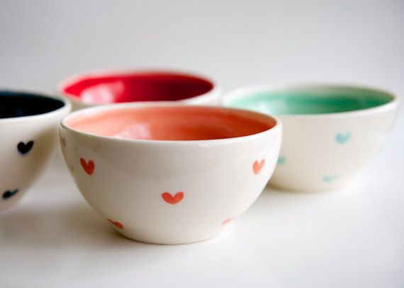 Mint and Coral Teal and Red Heart Bowls Set of 4 MADE by RossLab