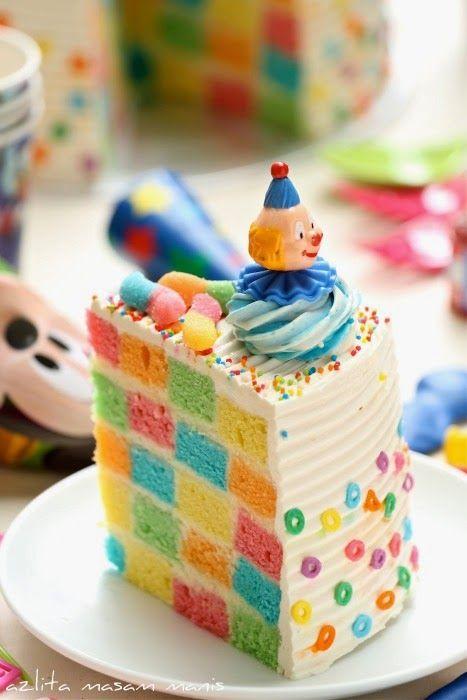 Checkered rainbow cake....recipe step by step!!!