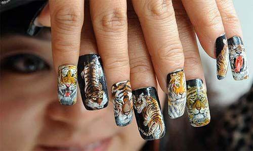 Tiger nails!: Tigers Nails, Tiger Nails, Nails Art, Art Tigers, Tiger Stripes, Nail Art, Tigers Stripes