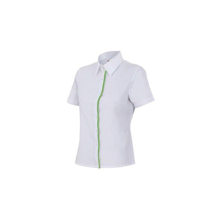 Chemise de service semi-cintrée manches courtes femme 65% polyester 35% coton 114 gr/m2 – Noir/Vert Chasseur – P538 – Velilla – taille: XXL