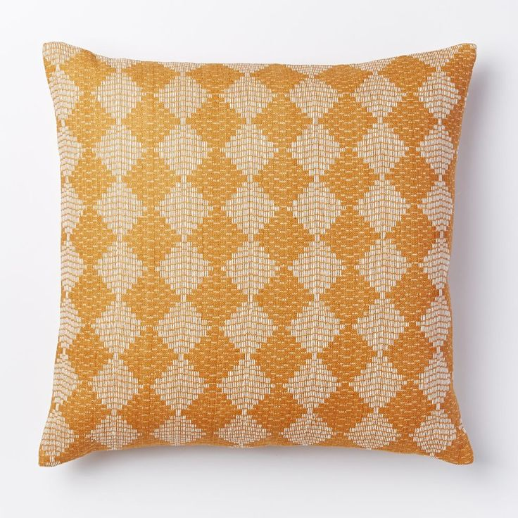 Handloomed Subtracted Diamonds Cushion Cover - Apricot