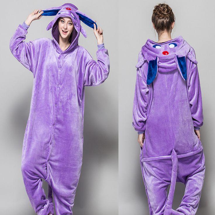 HKSNG Halloween Adult Winter Warm Anime Cartoon Animal Purple Espeon Pokemon Pajamas Kiguruma Purple Umbreon Onesie Cosplay #Affiliate