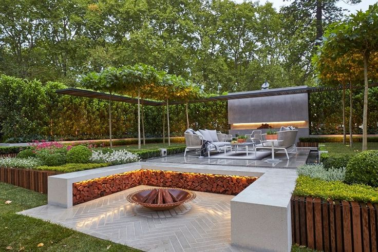 A Goldworthy Garden Installation By Nathan Burkett - we would like the sunken firepit area as suggested, but thought the herringbone aspect was unusual and rather nice. Like the canopy trees and layout