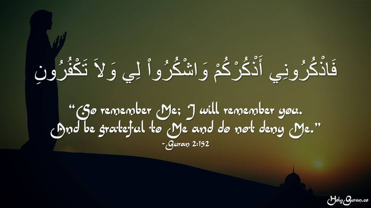 """""""So remember Me; I will remember you.  And be grateful to Me and do not deny Me."""" - Quran 2:152"""