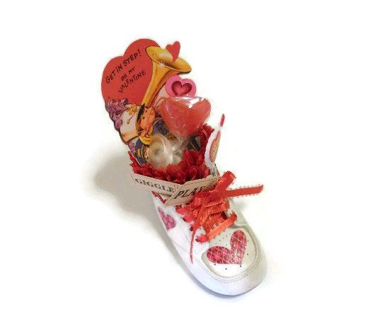 Baby Shoe Valentine Assemblage  Get In Step by ToletallyPainted