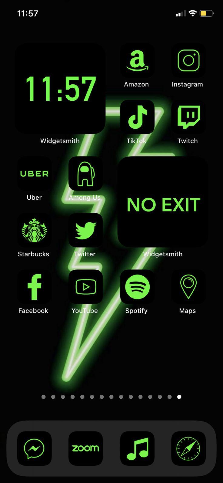 App icons green neon ios 14 aesthetic home screen green