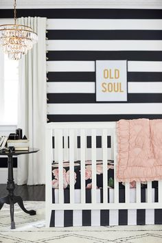 The perfect bed of roses nursery in black, white, and blush
