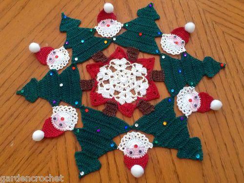 Christmas trees holiday jewels Santa Clause doily
