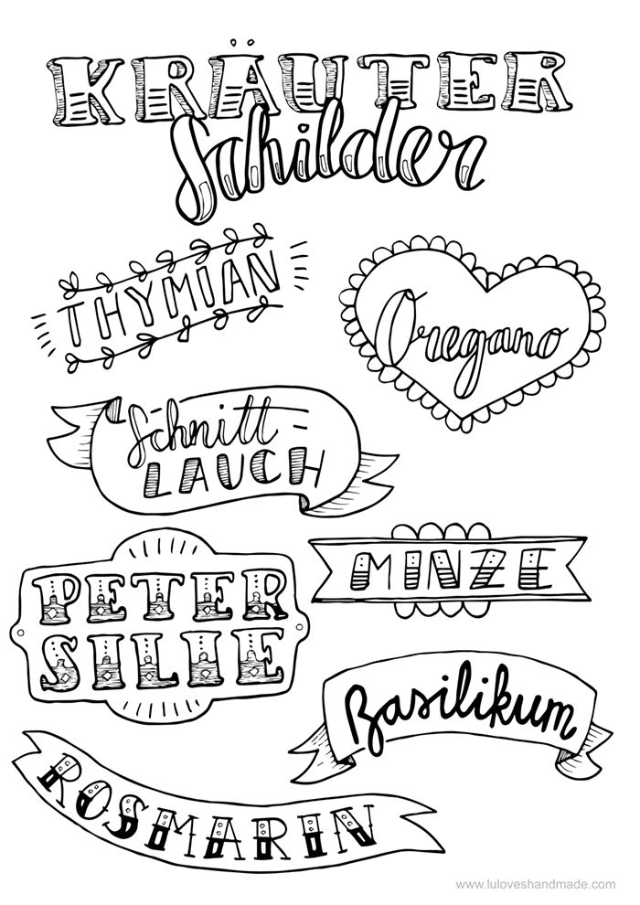 Hooray for summer and fresh herbs! Here's a set of free handlettering printables with herb labels made by Luloveshandmade. Print out and enjoy!