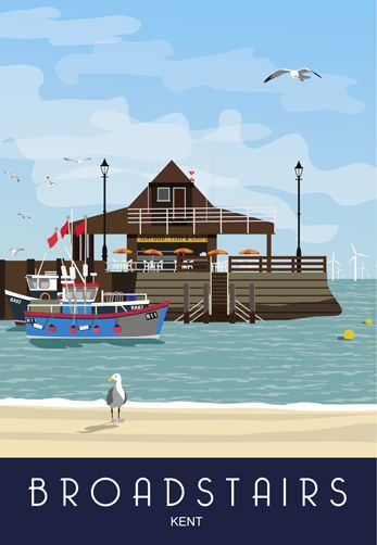 Broadstairs Harbour. Railway Poster style Illustration by www.whiteonesugar.co.uk Drawn by Ryan Ambrose of White One Sugar