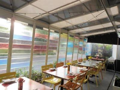 Coloured glass louvre windows
