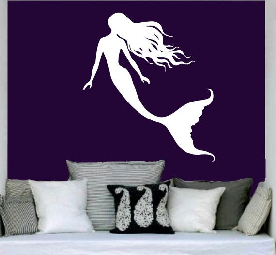 Mermaid Wall Decal Water Nymph Nature Fish Hair Beauty Sea Animal Wall Decals Vinyl Sticker Interior Home Decor Art Bedroom Mural SV6193