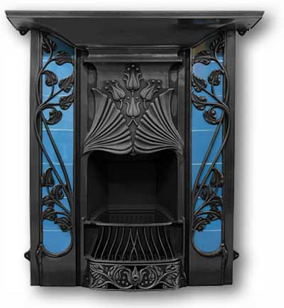 The Toulouse Complete Cast Iron Fireplace (black finish) -- Victorian Fireplaces