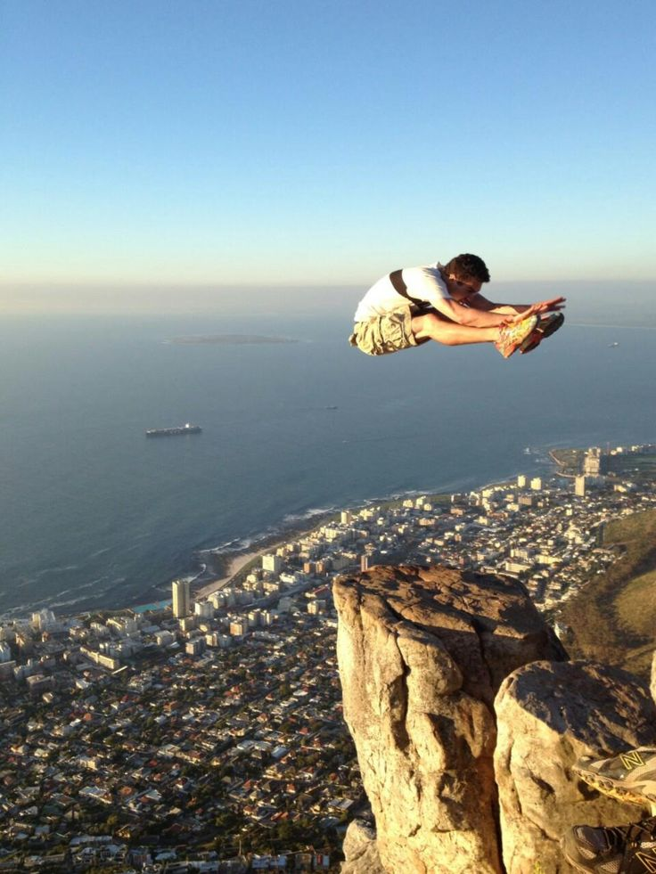 Flying kick at Lion's Head, Cape Town in South Africa