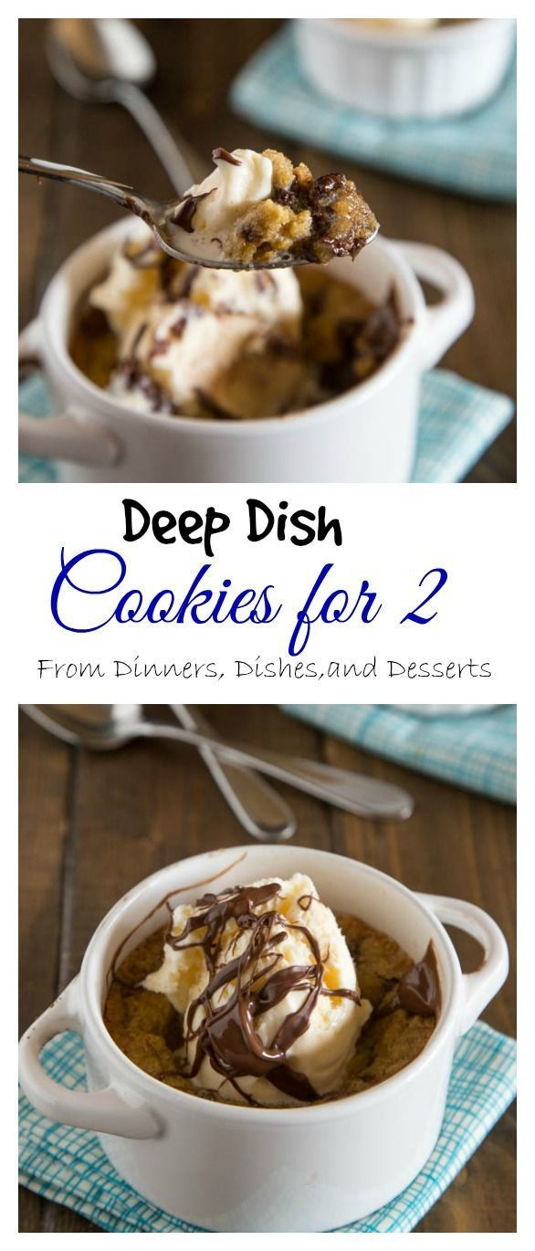 Ooey, gooey, chocolately dessert for two. Get this recipe from @dinnersdishes for deep-dish chocolate chip #cookies made in two 8-ounce ramekins -- perfect for your next date night in