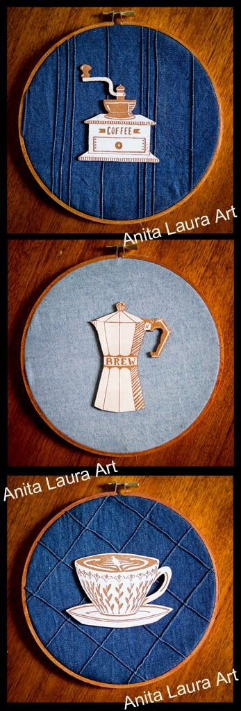 The Daily Grind - Coffee Series - Hand drawn, laser cut board, with block ink rolled on - Anita Laura Art