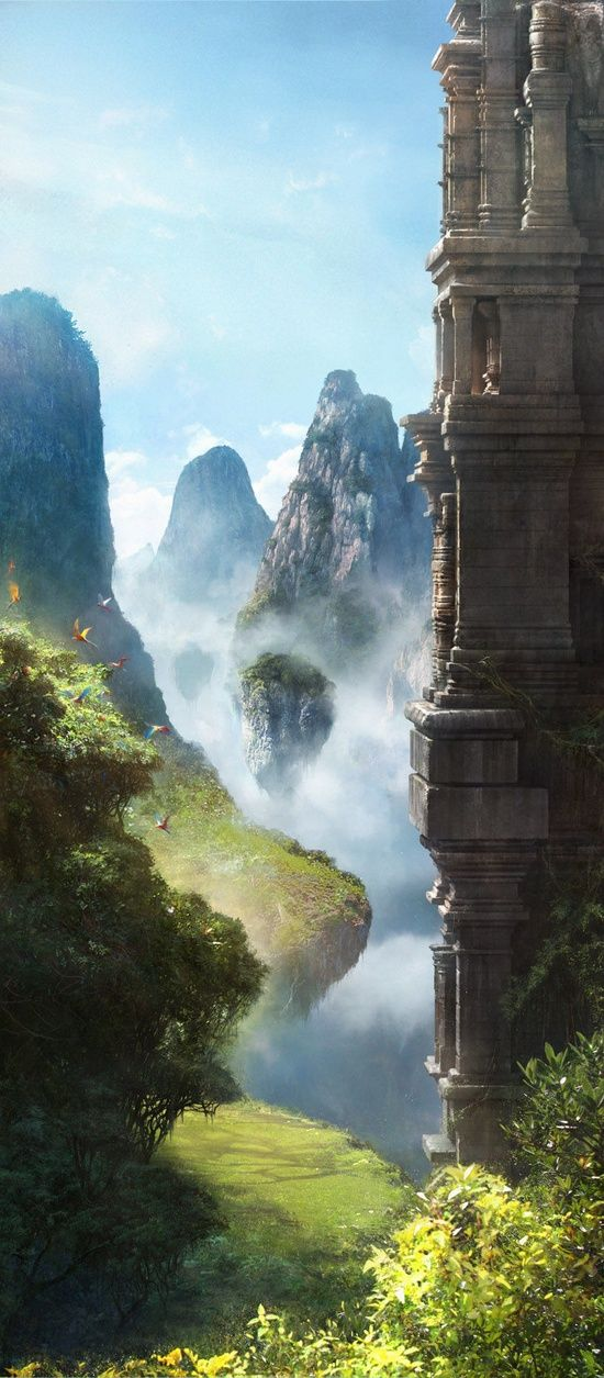 China clouds, nature, nice view, beaty, mountains, sky, skies, hills, beautiful view, fantasy, green, blue, woods, tree