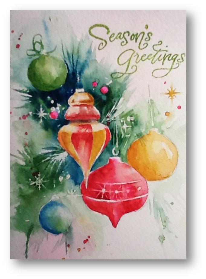 Шахматами, новогодняя открытка с краской