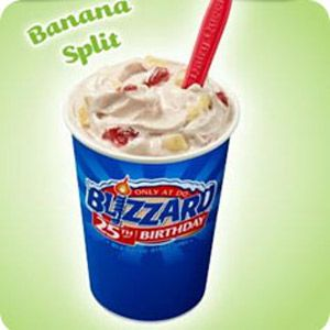 Dairy Queen Banana Split Blizzard All the Banana Split Fixin's swirled into a Blizzard