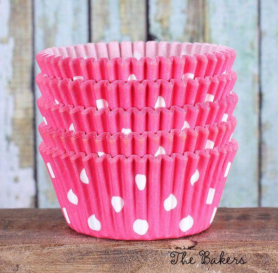 Pink Polka Dot Cupcake Liners Polka Dot by thebakersconfections, $3.99
