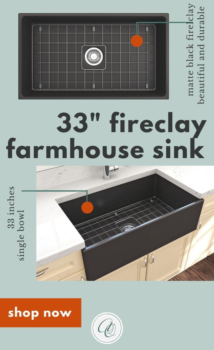 Bocchi Contempo 33 Matte Black Fireclay Single Bowl Farmhouse Sink W Grid In 2020 Fireclay Farmhouse Sink Sink Fireclay Sink