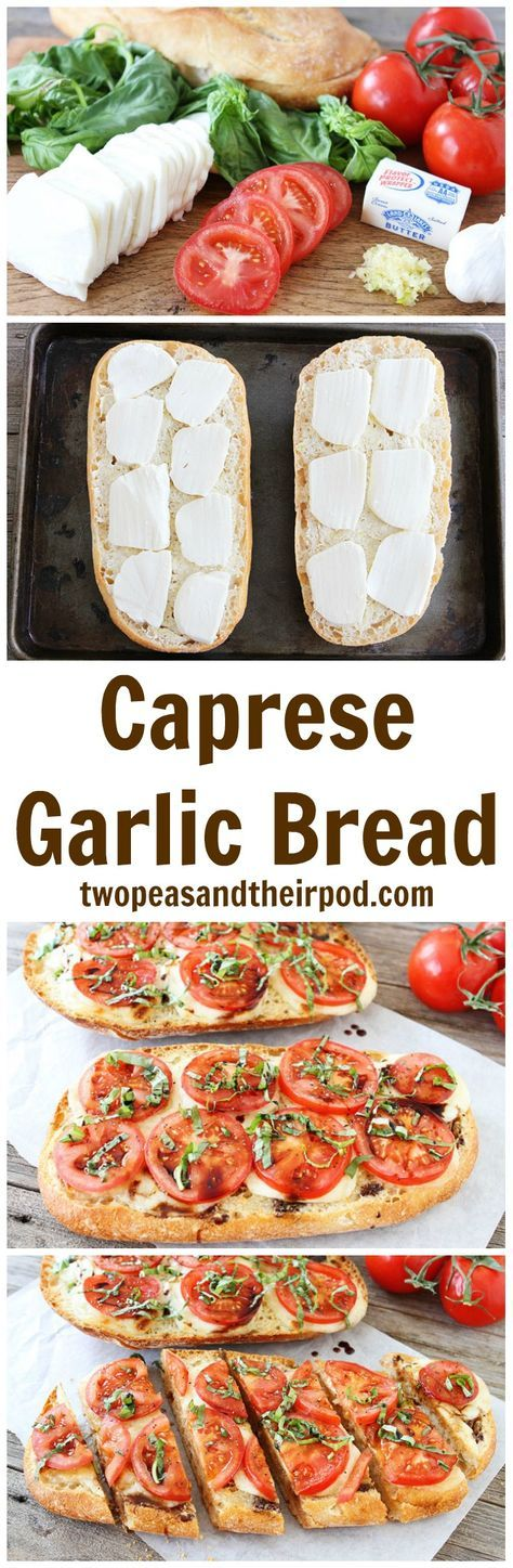 Caprese Garlic Bread Recipe on twopeasandtheirpod.com This is the BEST garlic bread recipe and it's so easy to make. If you like caprese salad and garlic bread, you will LOVE this one!