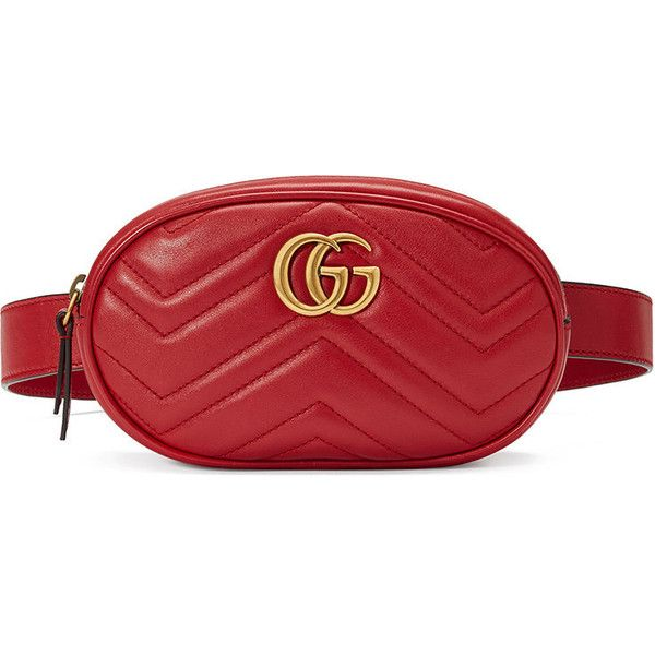 13e9b1d9b3d2 Gucci GG Marmont matelassé belt bag (4,125 SAR) ❤ liked on Polyvore  featuring bags, handbags, red, crossbody handbag, red purse, genuine  leather belt, ...