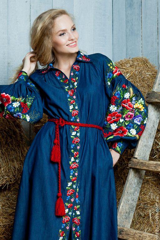 """Купить Вышитое джинсовое платье """"Яркая жизнь"""" ручная вышивка гладью - темно-синий, цветочный"""