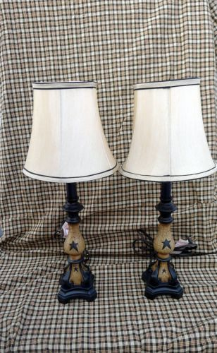PRIMITIVE CRACKLE LAMPS & SHADE BLACK STAR COUNTRY FARMHOUSE DECOR