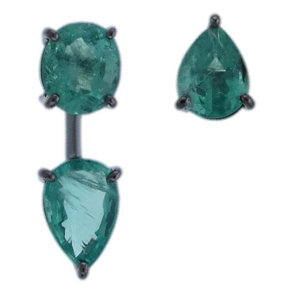 "Jack Vartanian """"Pure"""" Asymmetrical Emerald Earrings (£5,190) ❤ liked on Polyvore featuring jewelry, earrings, asymmetrical earrings, emerald stud earrings, emerald earrings, jack vartanian jewelry and emerald jewelry"