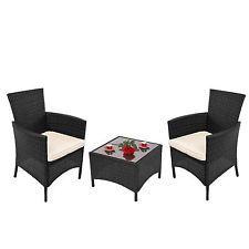 Garten-Garnitur Sitzgruppe RomV, Poly-Rattan, Tisch eckig + 2x Sessel anthrazit