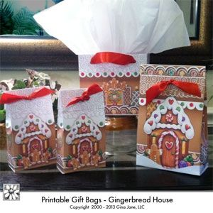 Printable DIY Christmas Treat Bags in two sized by designer Gina Jane - Make your own treat bags, just print, cut and create! Use semi-gloss brochure paper for best results.  Kids and Teacher crafts for Christmas. DAISIE COMPANY: Clipart, Printables, Graphics, DIY Crafts for Kids, Parties, Candy Wrappers, by artist Gina Jane for DAISIECOMPANY