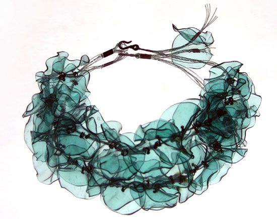 Gulnur Ozdaglar - upcycled plastic bottles (PET) necklace http://gulguvenc.blogspot.com/ #repurposed #jewelry