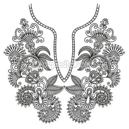 Moda escote bordado — Ilustración de stock #8029442