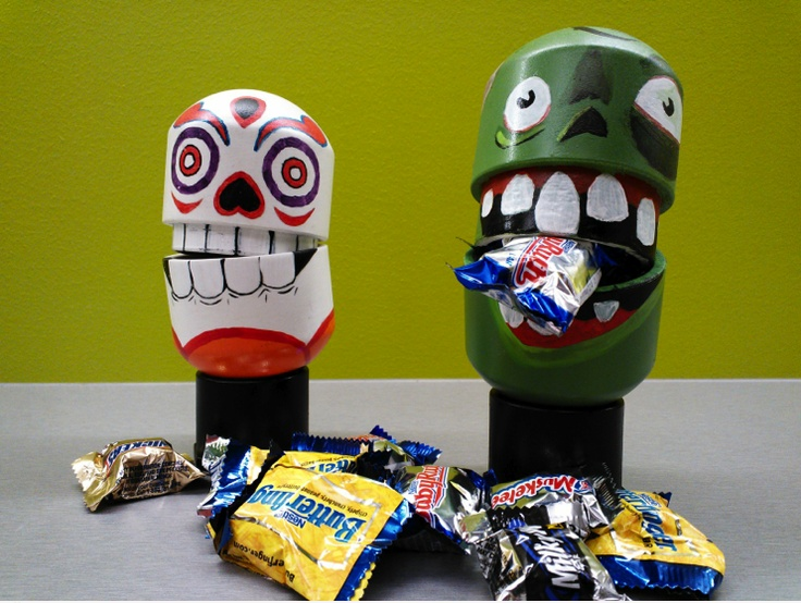 An easy #Halloween #DIY #craft: Use PVC pipe ends to create monsters