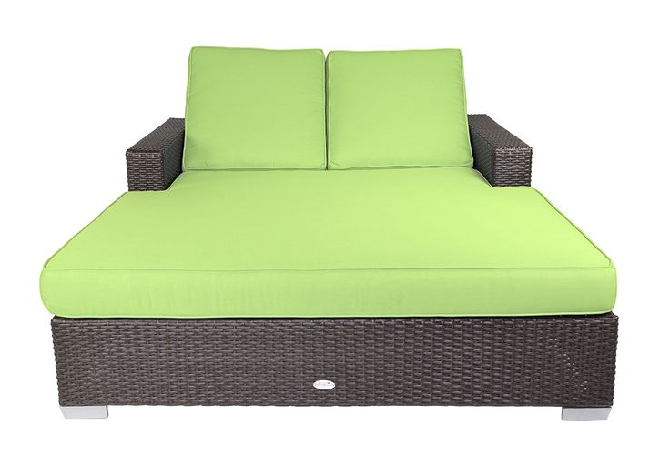 Patio Heaven SB-C2-5429 Signature Double Chaise Lounge with Cushion in Canvas Fabric, McCaw. Sturdy powder-coated aluminum frame. Non-toxic 100% recyclable material. All-weather and UV resistant polyethylene wicker. Includes premium UV resistant Sunbrella outdoor cushions manufactured in the USA.