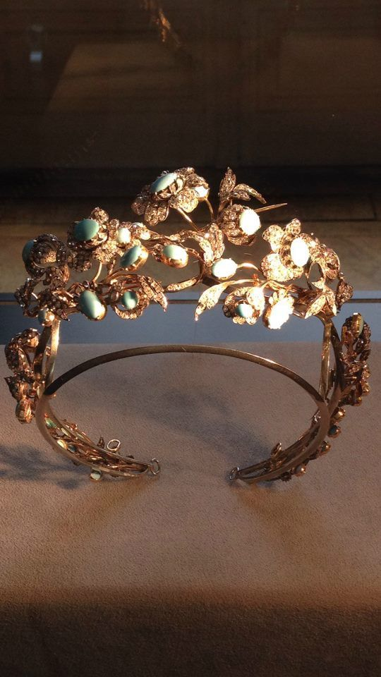 Diamond and cabochon turquoise tiara, c1860 by Mellerio dits Meller.