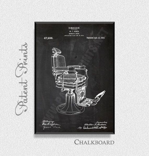 Kappers stoel 1915 Patent afdrukken Poster van de badkamer, badkamer octrooi, badkamer blauwdruk, badkamer Print, Toilet Print, Barbershop Decor