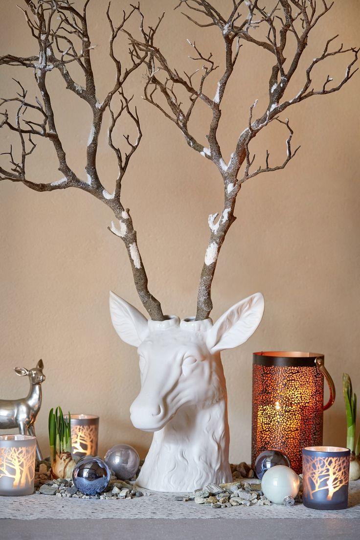 """www/botanic.com/noel/deco - Inspiration """"Jardin enneigé"""" - Vase tête renne - Réf. 247290"""