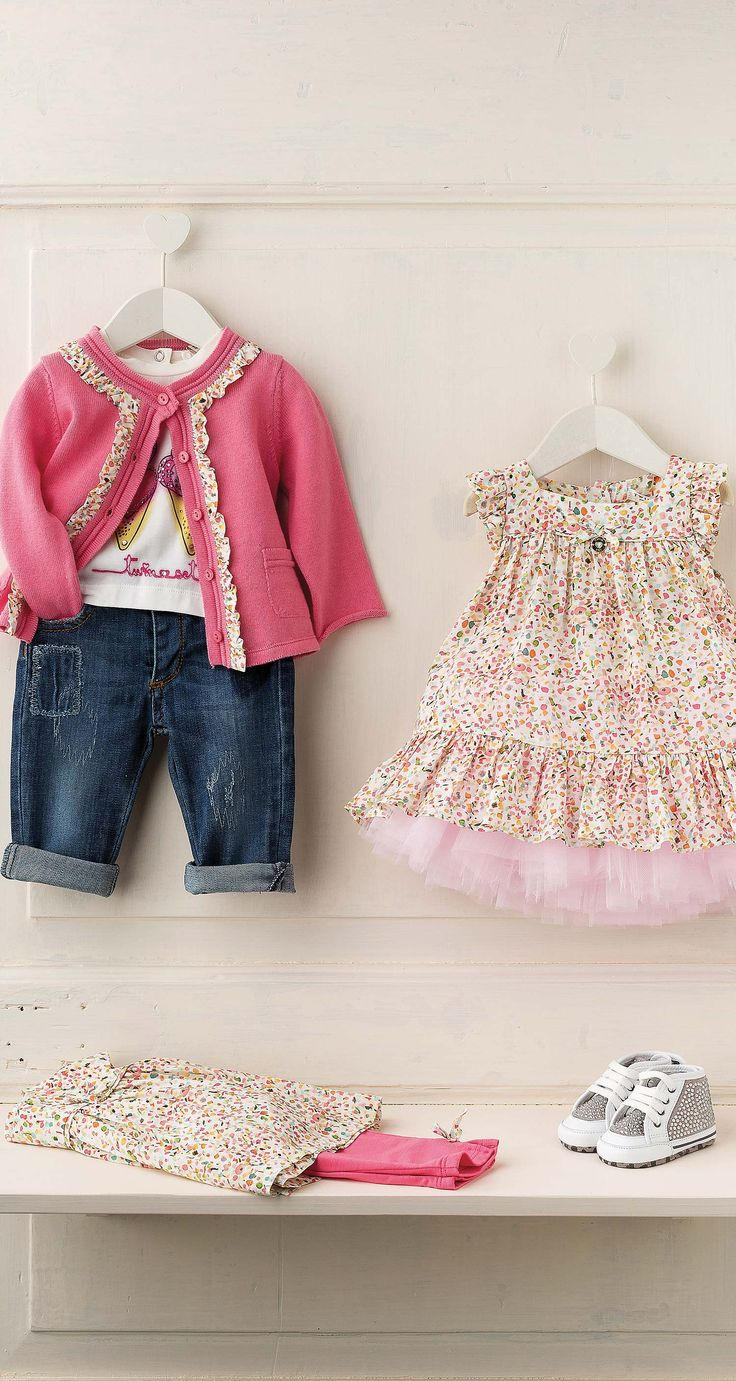 TWIN-SET Simona Barbieri, 2016 Summer Newborn collection: cardigan ES63WA, printed t-shirt ES62BN, embroidered jeans ES62PA, print dress ES62YA, tulle skirt ES62BA, t-shirt and trousers suit ES62YB and sneakers ES6AGB
