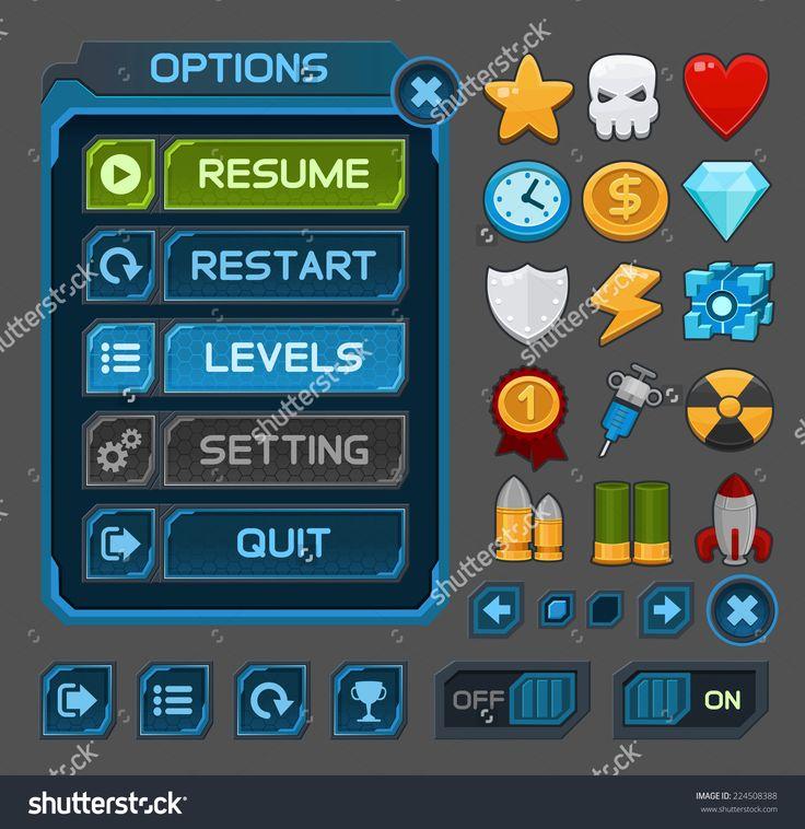 Resultado de imagem para games gui buttons
