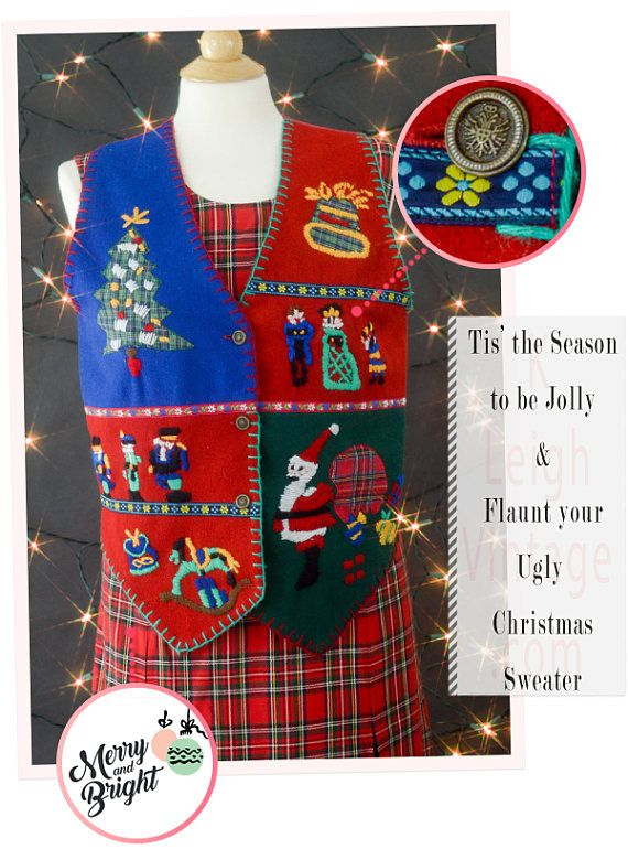 Ugly Christmas Sweater Vest Tacky Christmas Vest Size Medium