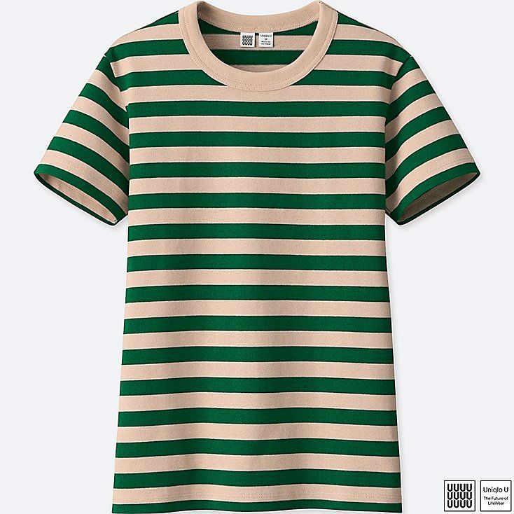 62637d30e790 WOMEN UNIQLO U 100% COTTON Striped Crew Neck Short Sleeve T-shirt ...