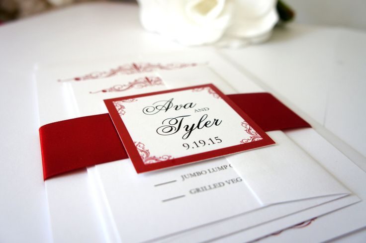 Elegant Red Wedding Invitation - Elegant Wedding Invitation, Simple, Sophisticated, Formal Wedding Invitation, Wedding Invites - SAMPLE SET